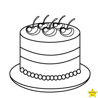 black and white birthday cake clipart without candle