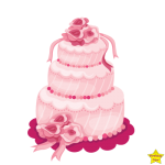 pink birthday cake clipart three layers
