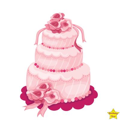 pink birthday cake clipart three layers