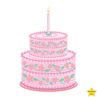 pink birthday cake clipart two layers