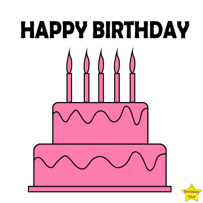 pink happy birthday cake clipart simple