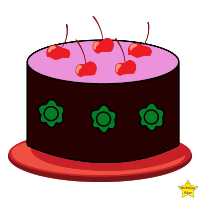 purple birthday cake clipart