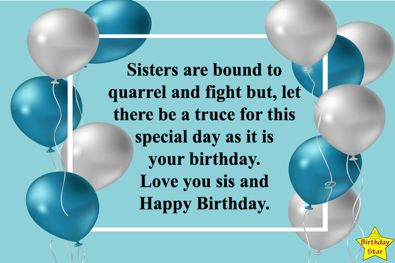 Birthday wishes for sister funny