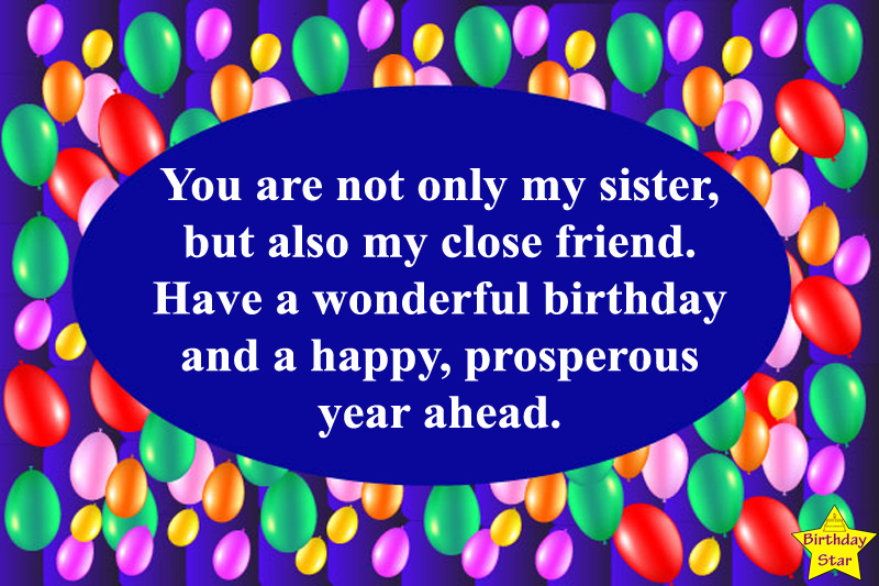 birthday wishes for sister from elder sister