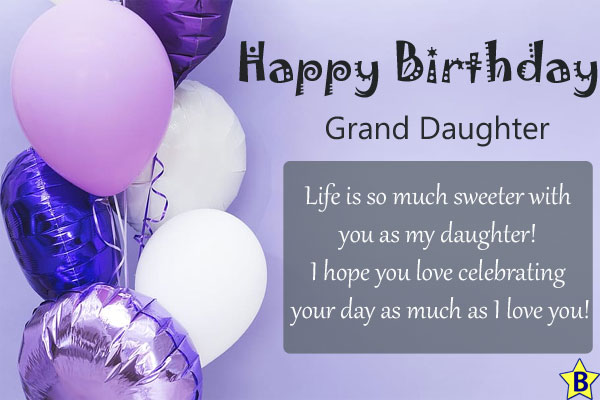 Happy Birthday Daughter wishes to grand daughter