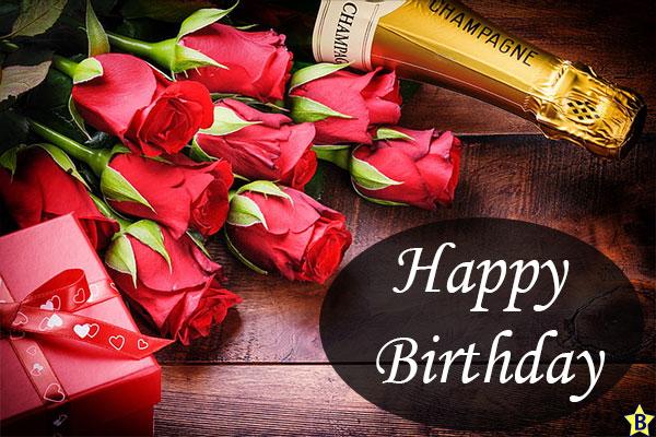 Happy birthday rose images with wine