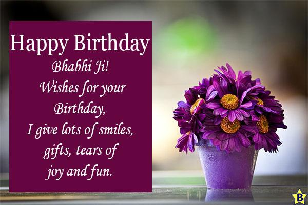 Birthday wishes for bhabhi ji