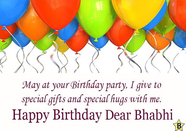 Birthday wishes for dear Bhabhi